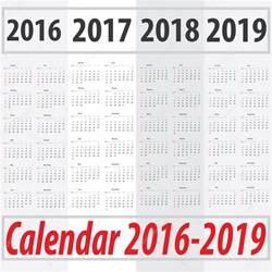 Kalender 2016 Bis 2018 日曜日から始まるカレンダー 2016年 2017年 2018年 2019 ストックベクター