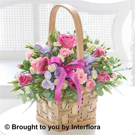 new year flower basket happy birthday scented pink and lilac basket birthday