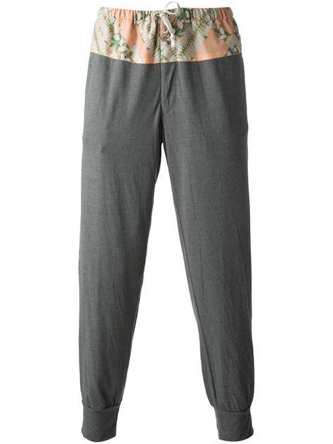 grey patterned pants kolor patterned track pants in gray for men grey lyst