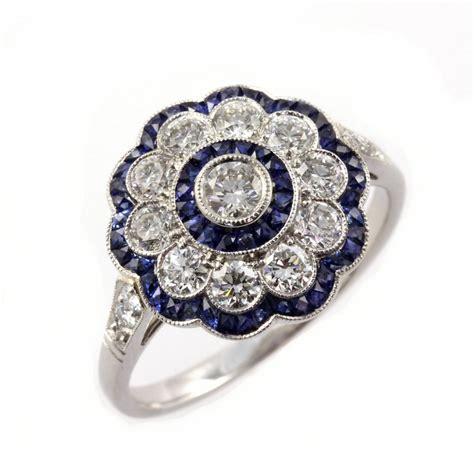 deco rings for sale uk sheldon bloomfield platinum sapphire flower