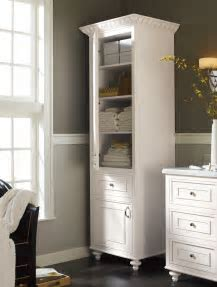A stand alone linen #cabinet adds charm and much needed extra #storage space in your #bathroom
