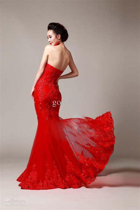 Elegant Red Mermaid Wedding Dresses   Cherry Marry
