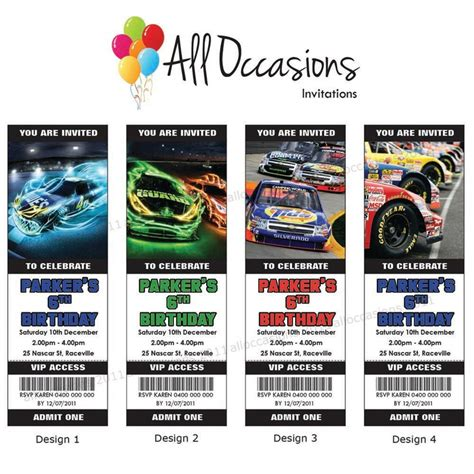 printable nascar birthday invitations personalised custom nascar racing birthday ticket