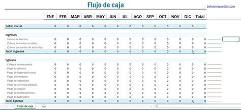 formato de excel para calculo de declaraciones mensuales 2016 flujo de caja formato excel bolivia impuestos blog