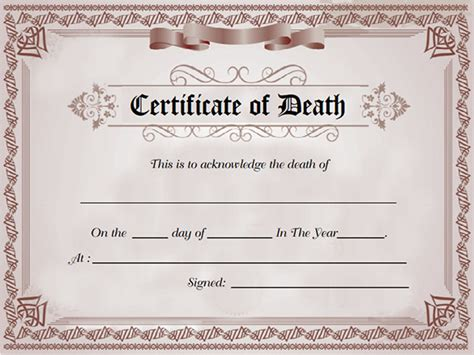 templates for death certificates sle death certificate templates 13 free word pdf