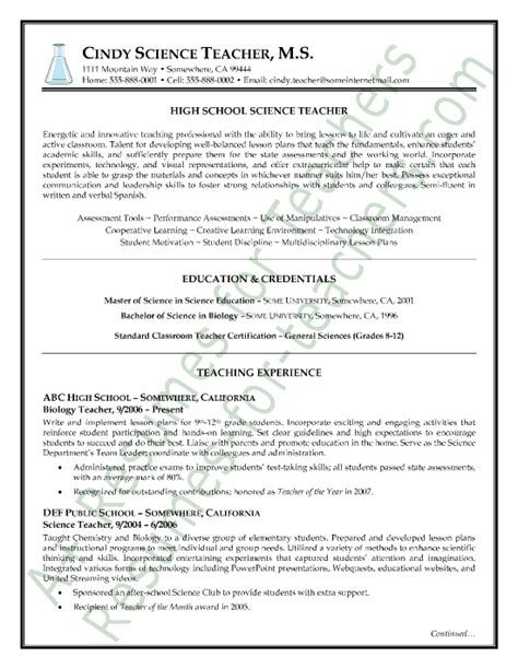 Affiliation In Resume Sle by Science Resume Sle Page1 Teach