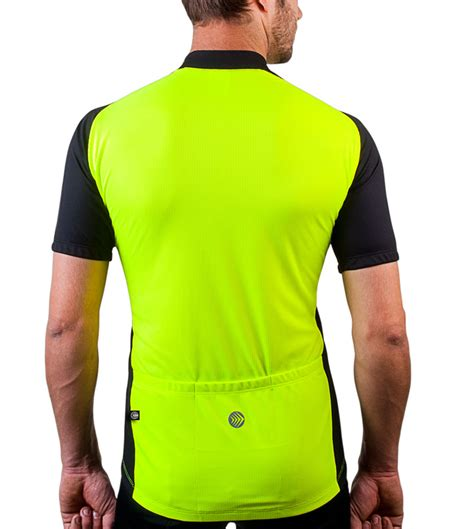 Men S Full Zip Club Cycle Jersey Neon Yellow Red Blue