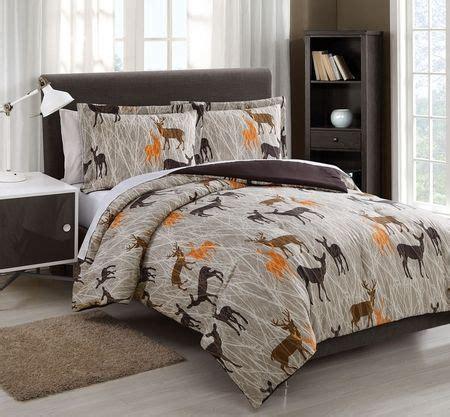 Twin Microfiber Kids Deer Camo Tan Chocolate Reversible Deer Bed Sets