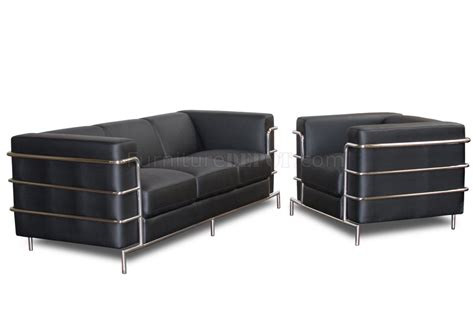 sofa tube black bonded leather modern citadel sofa set w steel