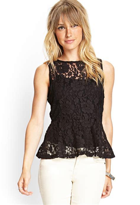 Floral Peplum Blouse Dress Atasan Wanita forever 21 sheer floral net peplum top in black lyst