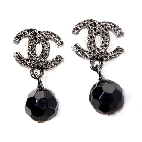 Black Earrings chanel beaded cc dangle earrings black 84343
