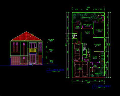 gambar autocad desain rumah tinggal  lantai  meter dwg  gambar autocad dwg