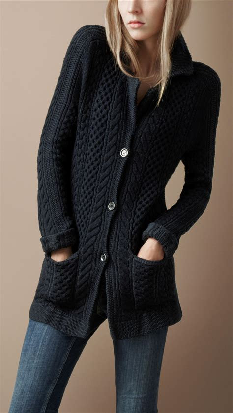 Jaket Sweater Knite Free Navy burberry brit cable knit jacket in blue lyst