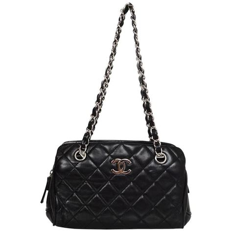 chanel black lambskin leather quilted tote bag for sale at