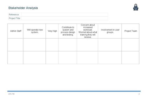 stakeholder analysis template stakeholder analysis template ape project management