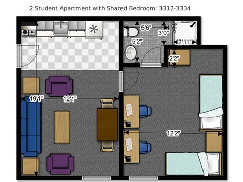 2 bedroom student apartments floor plans office of residence life university of