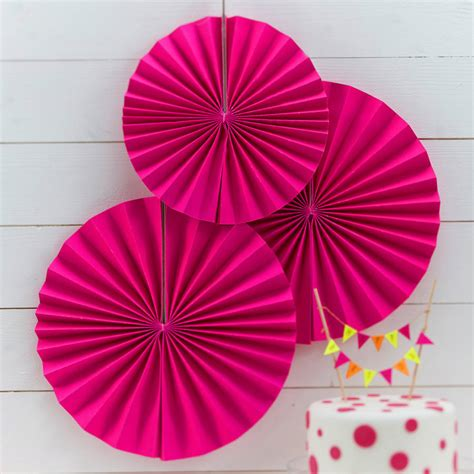 paper fan circle decorations neon pink circle fan party decorations by ginger ray