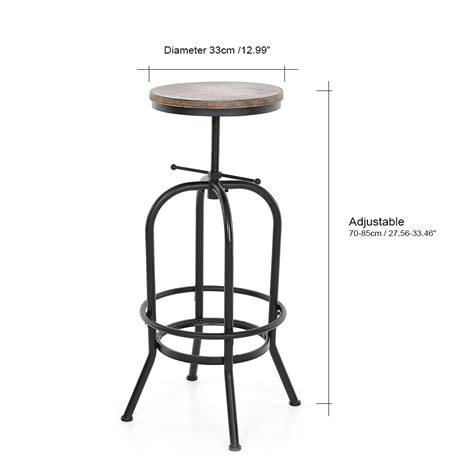 Industrial Bar Stool With Wood Top by Vintage Bar Stool Industrial Metal Wood Top Adjustable