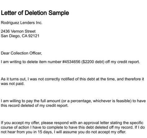 Pay For Deletion Credit Letter letter of deletion within pay for delete letter