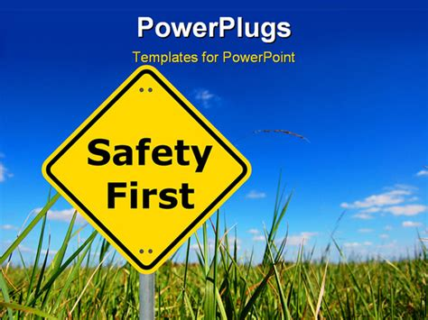 Powerpoint Template Safety First Sign Board With Farm And Sky In The Background 25563 Microsoft Powerpoint Templates Safety