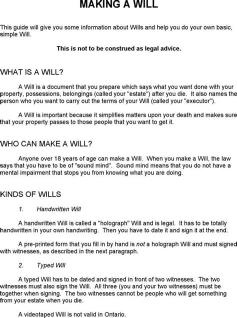 Download Ontario Last Will And Testament Sle For Free Page 5 Tidytemplates Ontario Will Template