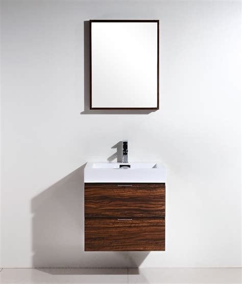 Modern Wall Mounted Bathroom Vanities Bliss 24 Quot Walnut Wall Mount Modern Bathroom Vanity
