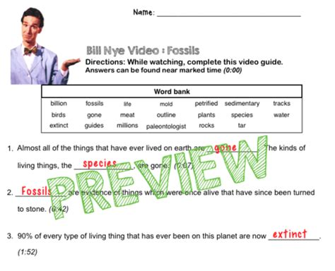 Bill Nye Fossils Worksheet by Bill Nye Questions Fossils W Time St Word