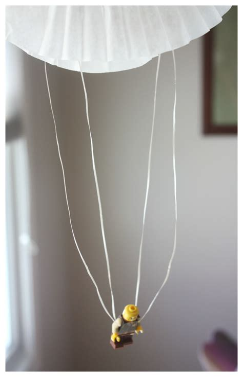 Make A Paper Parachute - coffee filter parachute lego minifigure parachute activity