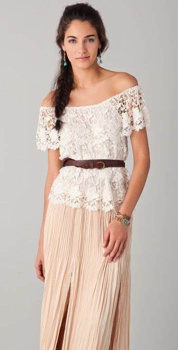 shoulder lace top maxi skirt crochet