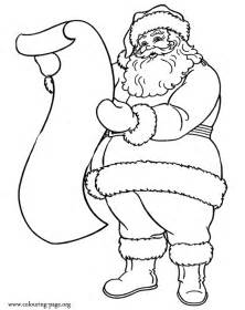 pictures of santa claus to color santa claus and the list of gifts coloring page