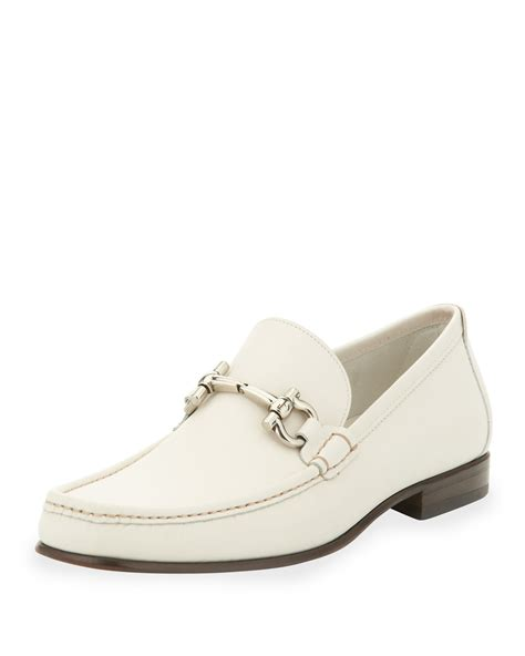 mens loafers white ferragamo giordano leather bit loafer white in white for