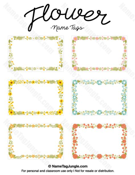 printable name tags for spring free printable flower name tags the flowers include roses