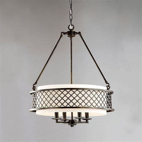 Drum Shade Pendant Light Fixtures Bronze 4 Light Chandelier Drum Shade Pendant L Ceiling Fixture Home Lighting Ebay