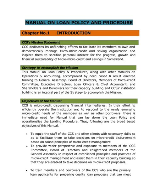 company operations manual template manual on loan policy procedure for ccs microfinance