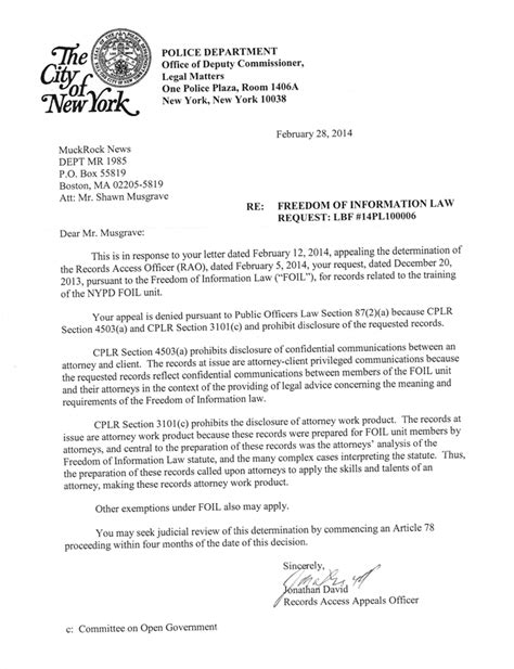 Release Letter To Client Nypd You Can T Submit Foia Requests For Our Foia Manual Popularresistance Org