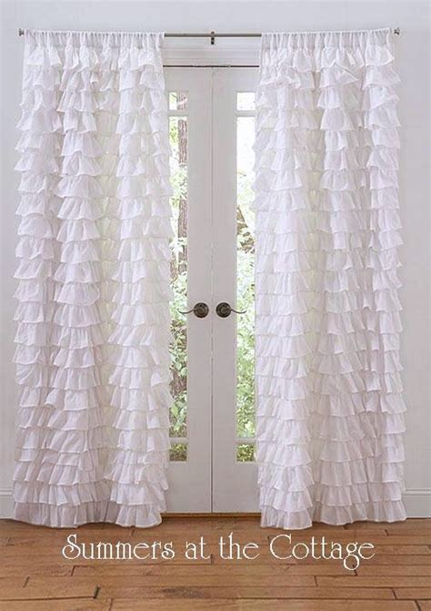 white ruffle window curtains white ruffled drapes curtains shabby chic cottage