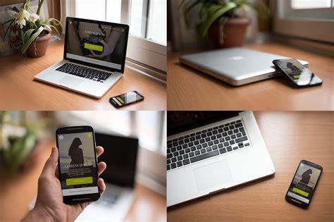 High Quality Realistic Macbook & Smartphone Free Mockups