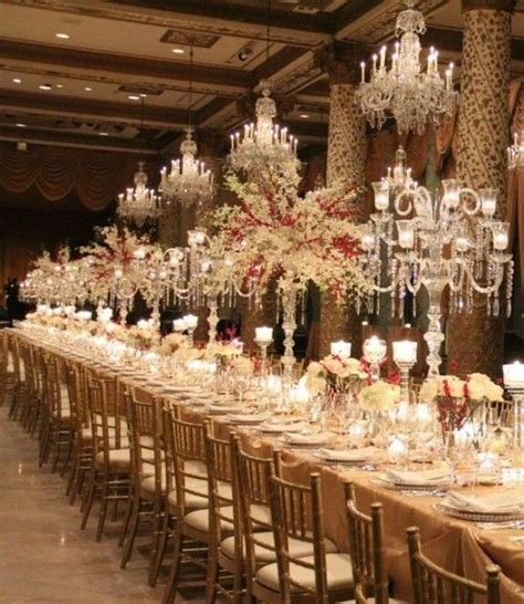reception decor once wed elegant table settings gold elegant candelabras and crystal trees white wedding ideas