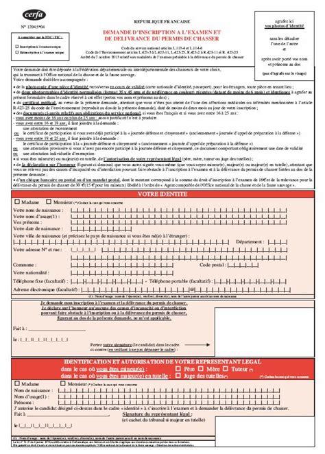 Cerfa Credit Formation Dirigeant permis de chasser