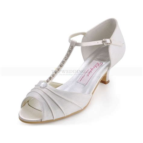 Wedding Shoes Low Heel Ivory by Ivory Peep Toes Low Heel Satin Bridal Shoes With Rhinestone