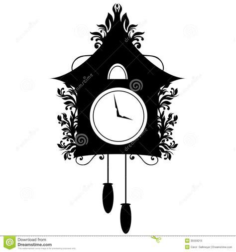 Modern Coo Coo Clock ornate cuckoo clock silhouette royalty free stock photo