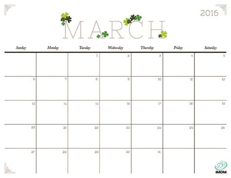 2016 march month calendar printable printable calendar free cute printable calendar march 2016 calendar