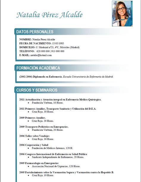 Plantilla De Curriculum Funcional curriculum de m 233 dicos enfermeras plantillas de cv