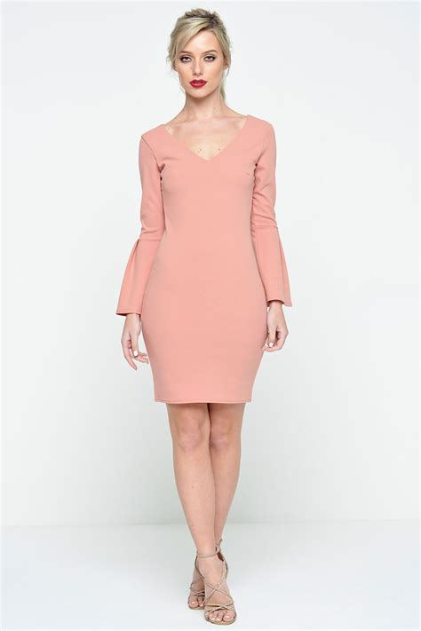 Zara Sleeve Bodycon premier de toi zara bell sleeve bodycon dress in dusty