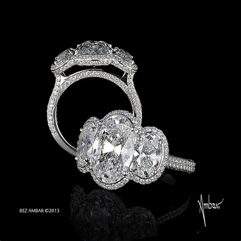 trio engagement ring with oval cut diamonds