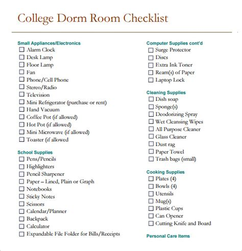 room checklist 8 sle room checklists sle templates