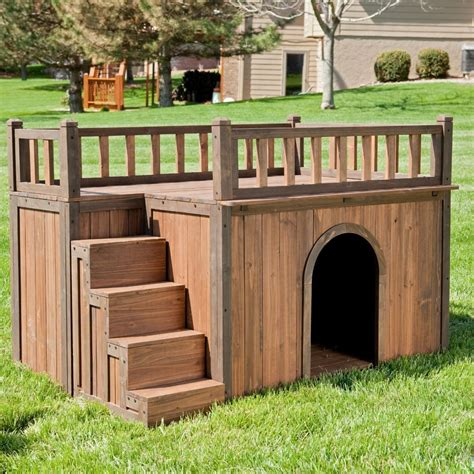 ebay dog house boomer george staircase dog house with balcony roof small medium or large dogs ebay