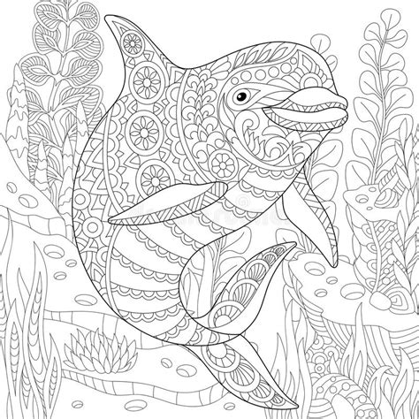 anti stress colouring book doodle and zentangle stylized dolphin stock vector image of