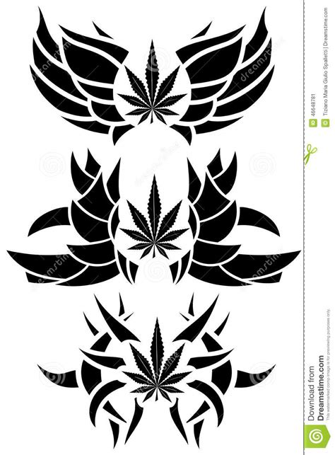 set of marijuana leaf tattoos isolated stock illustration