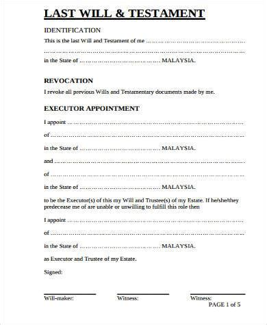 free template for last will and testament last will and testament form pdf